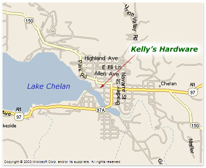 Map to Kelly's Ace Hardware at Lake Chelan, Washington